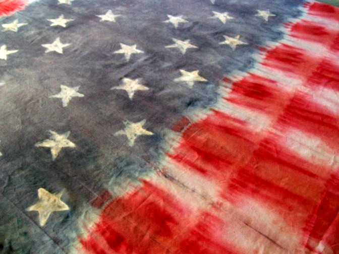 Batik and Tie Dye Fourth of July Table Cloth