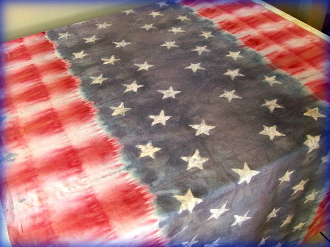 Stars and Stripes Batik and Tie Dye Table Cloth
