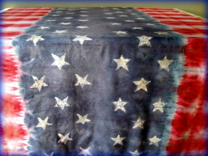 Faux Batik Tie Dye Stars and Stripes Table Cloth