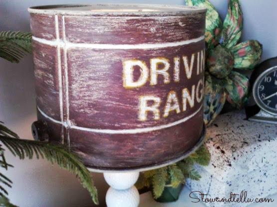 Tin bucket lamp shade on a golf themed lamp- Stowandtellu