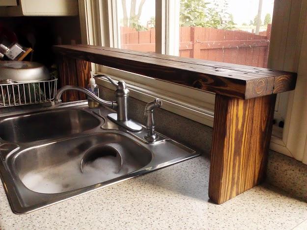 Pallet wood over the sink shelf- StowandTellU