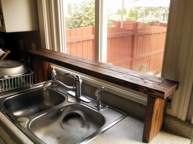 Skid wood over the sink window shelf StowandTellU