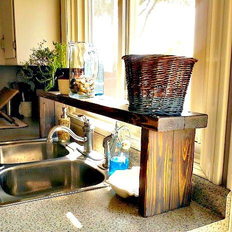 Sunbleach stained over the sink window shelf