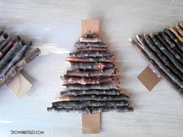 Rustic twig and cardboard Christmas tree ornaments -StowandTellU.com