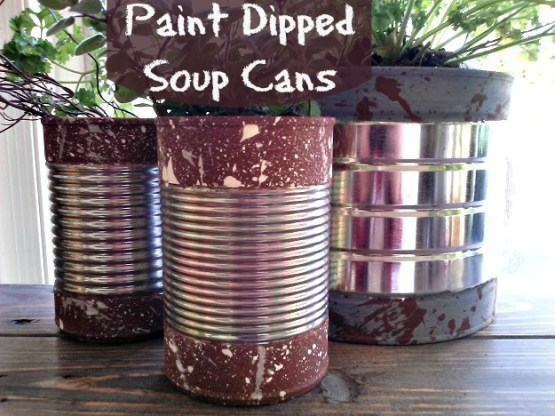 Paint Dipped Soup Cans with splatter paint texture-StowandTellU.com