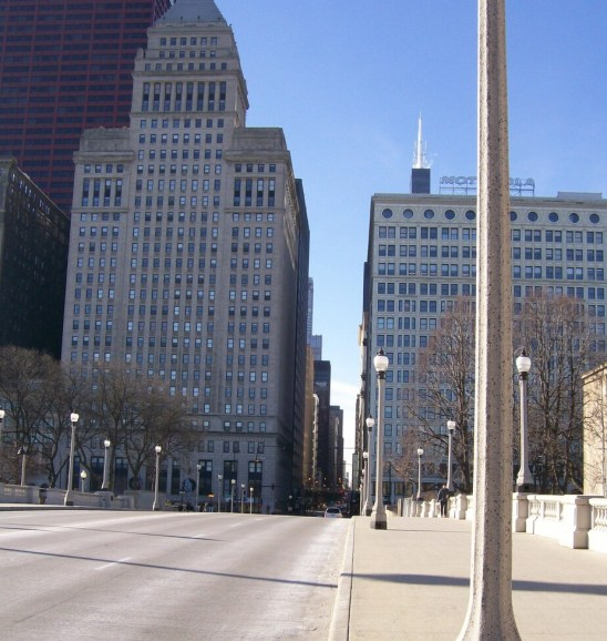 Where does Route 66 start - distant view of the original starting point at Jackson Blvd and Michigan Ave