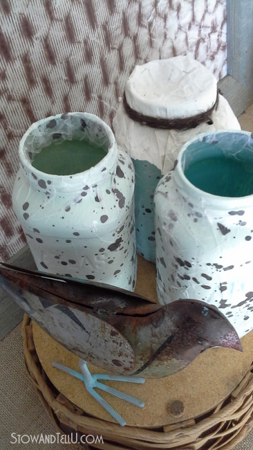 speckled egg textured decoupage mason jars-StowandTellU