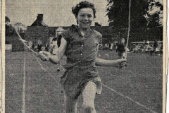 1964 press cutting of yound girl winning a skipping race
