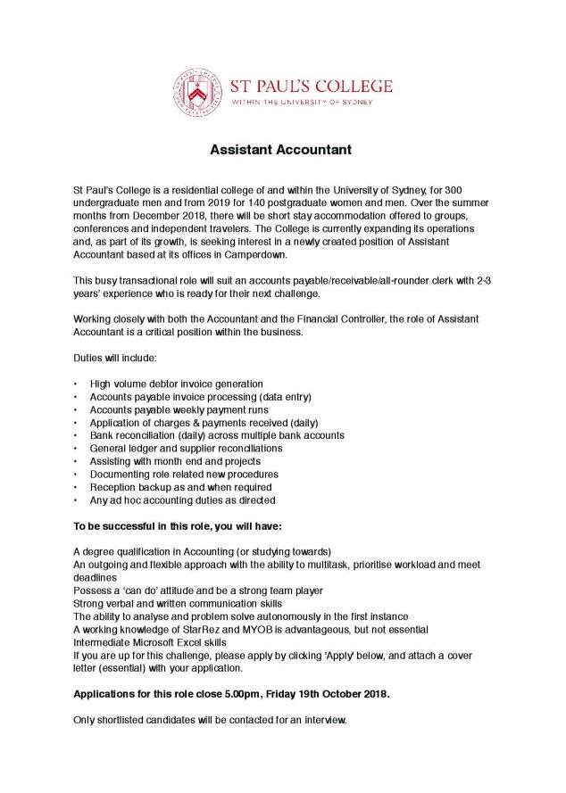 St Paul's College Assistant Accountant | St Paul's College