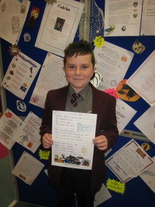 "Jamie Gaskin from 08/30 was highly commended for his poem ""Halloween Night"""