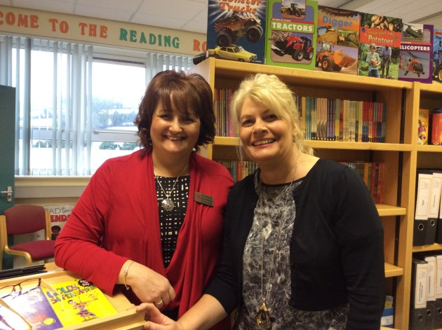 Mrs Mary McKenna from the Reading Room and Mrs Bronagh Nugent, Classroom Assistant helping out in the library