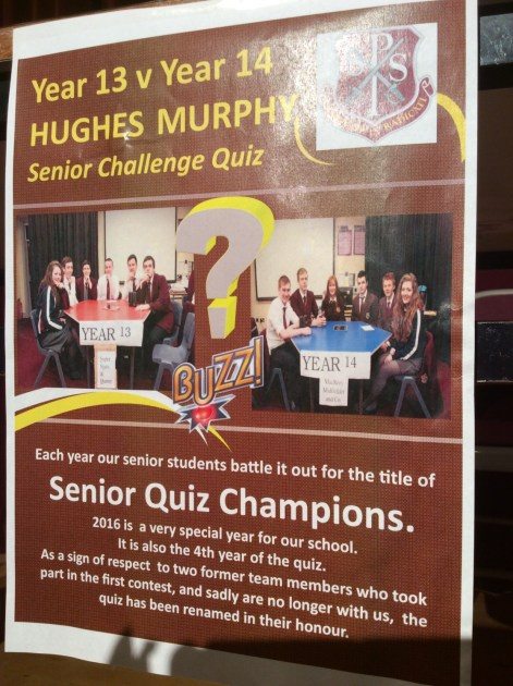 In memory of Peter Hughes and Micheal Murphy.