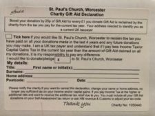 Example of the gift aid envelope you can find in the church, along side the other pham-let's of information