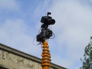Photo: The camera mounted on its telescopic tripod