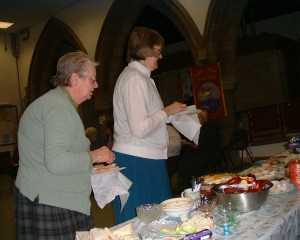 Photo: Rosemary and Mary W at the buffet