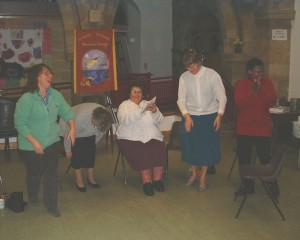 Photo: Ruth, Mary S, Linda V, Mary W and Pat H strut their stuff