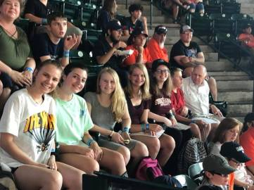 Some of the group at the baseball game