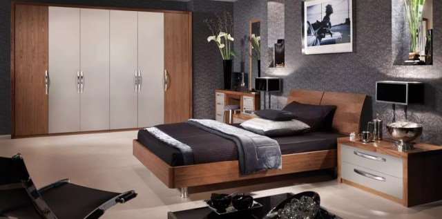 Contemporary Cashmere & Black Walnut Bedroom Furniture ...