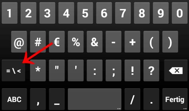 Paragraphenzeichen Samsung Tastatur