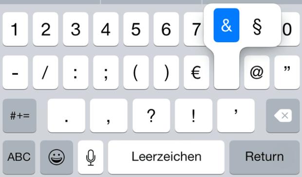 §, Paragraphen, Paragraf, Paragrafenzeichen, iPhone, iPad, iOS, Smartphone, schreiben, tastatur