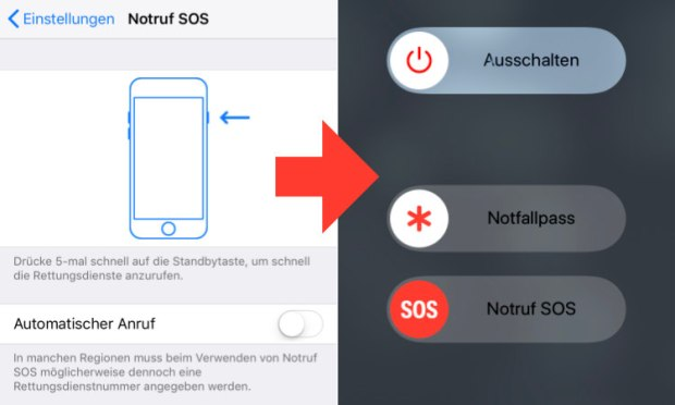 Antipolizeitaste, Cop Button, Copbutton, Notruf, SOS, iPhone, iOS 11, iOS11, TouchID, Touch ID, FaceID, Face ID