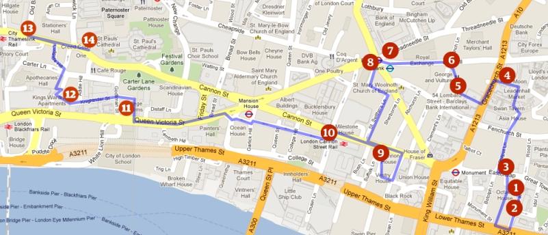 Map of Dickens Audio Walk