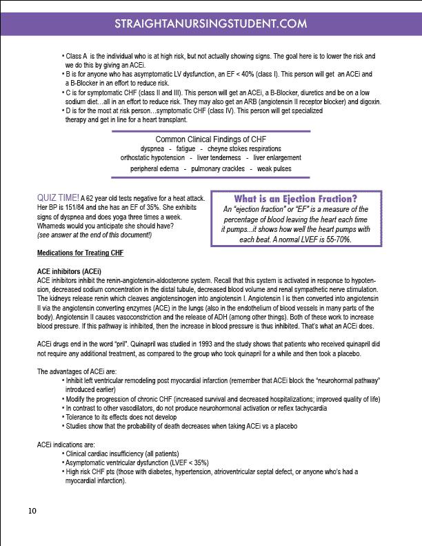 cardiovascular nursing school notes