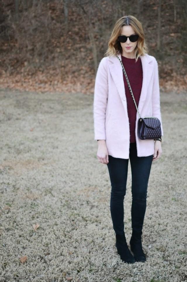 marsala sweater, black skinny jeans, black booties, blush pink coat, black cherry Rebecca Minkoff purse