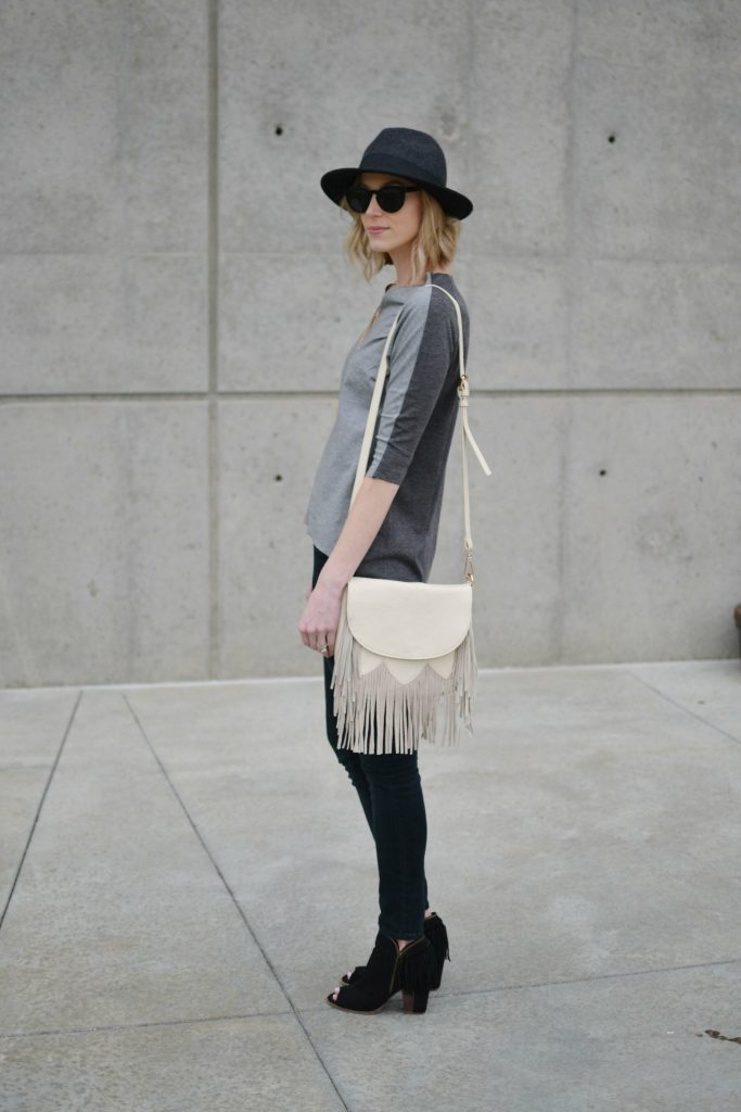 grey top, black jeans, fringe bag 1