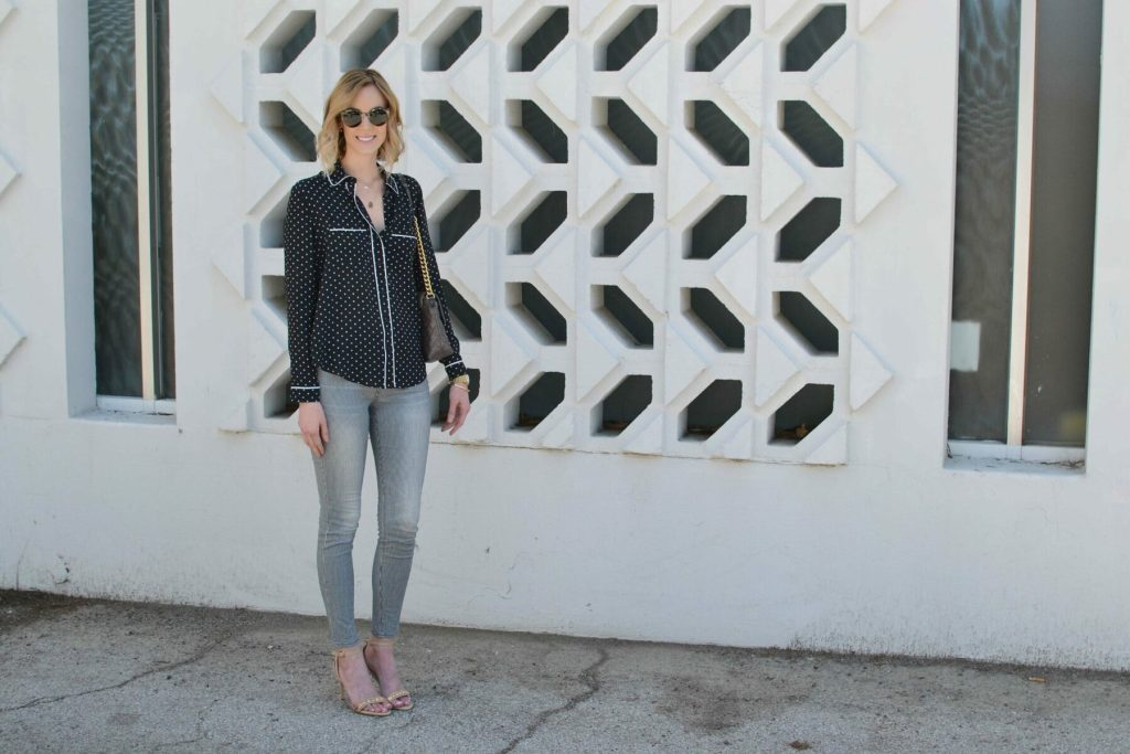striped jeans, pj shirt, ditto sunglasses, jlynn necklace 2