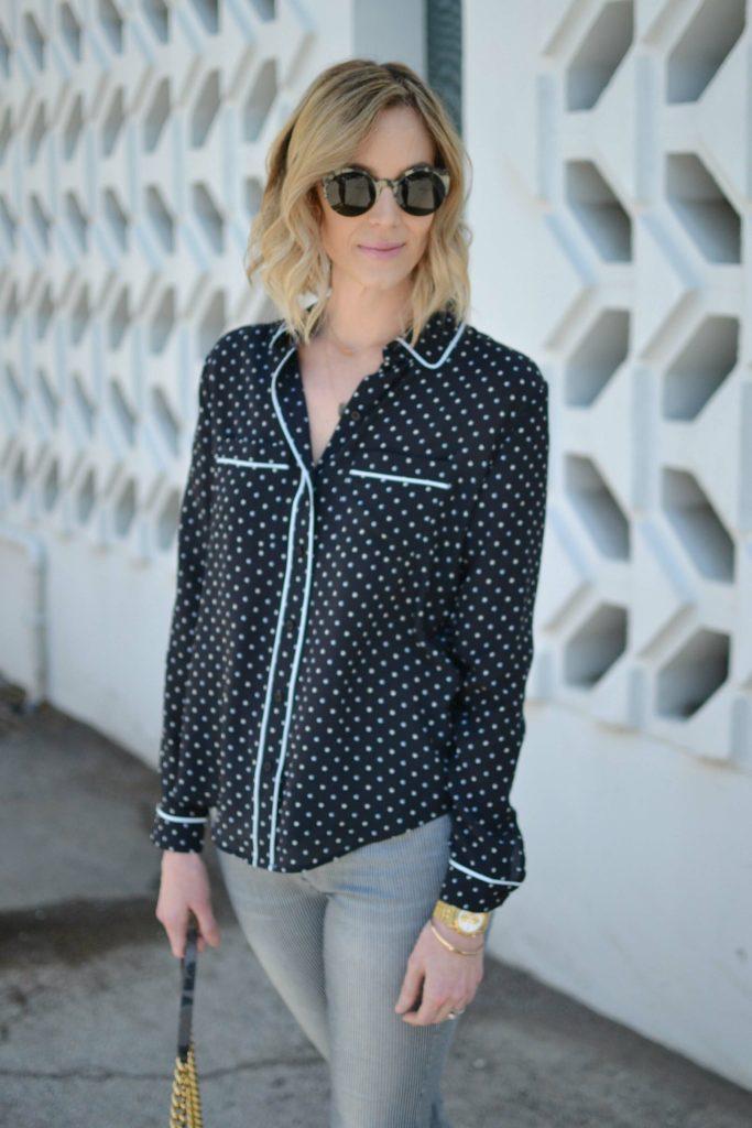 striped jeans, pj shirt, ditto sunglasses, jlynn necklace closeup
