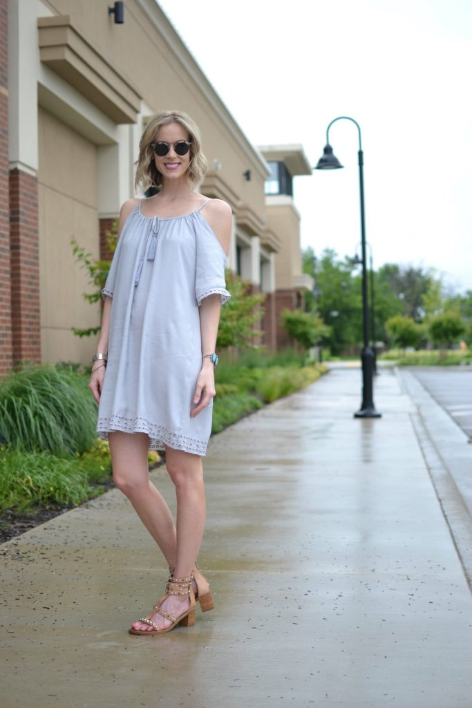 LuLu*s off the shoulder dress, Krewe sunglasses, sandals 1