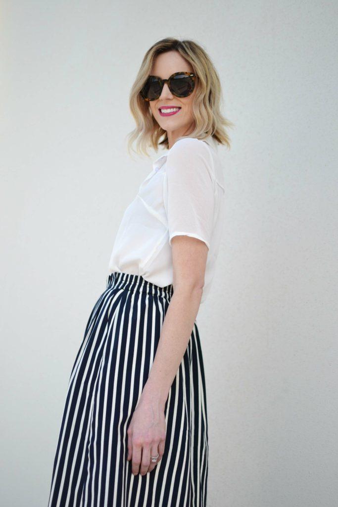 striped skirt, white blouse, karen walker sunglasses 1