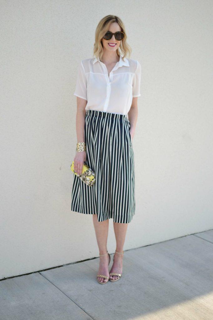 striped skirt, white blouse, karen walker sunglasses full length 1
