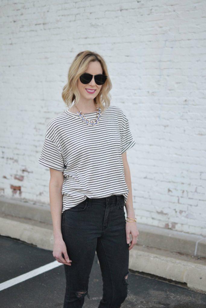 weekend casual, striped tee, karen walker sunglasses, rocksbox jewelry 3