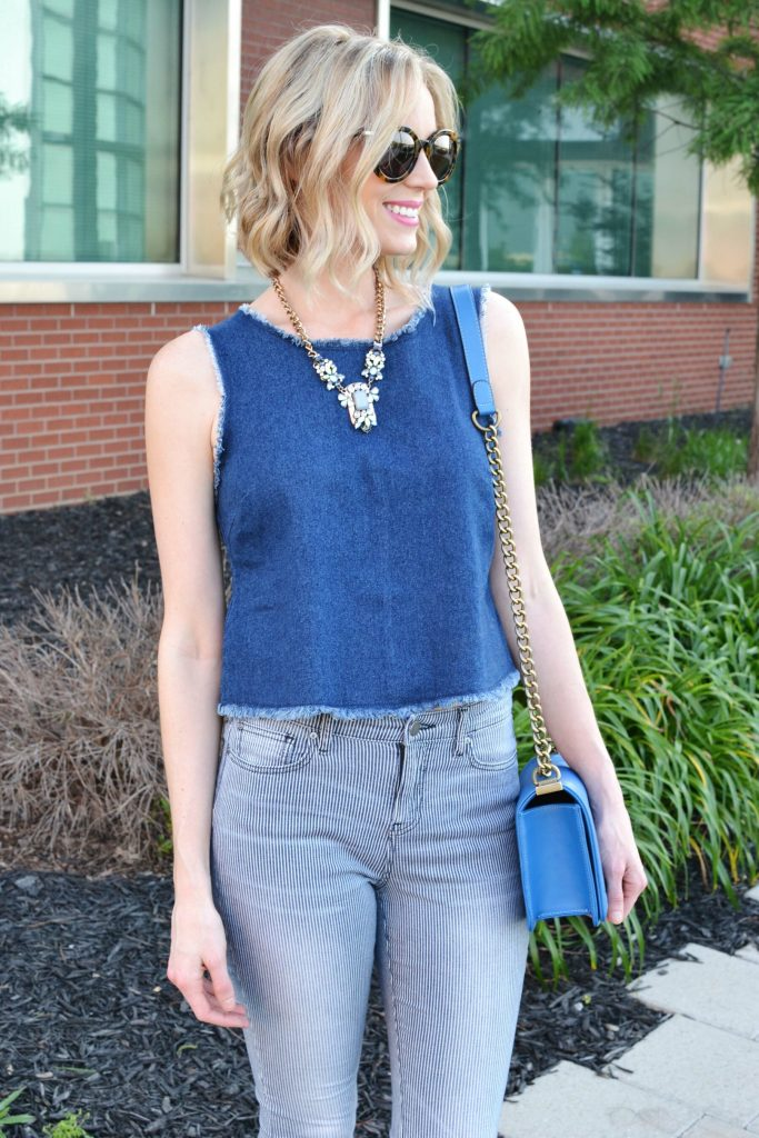 denim tank, striped jeans, sandals, blue bag, karen walker sunglasses 1