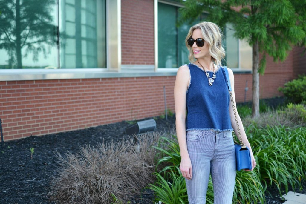 denim tank, striped jeans, sandals, blue bag, karen walker sunglasses 2