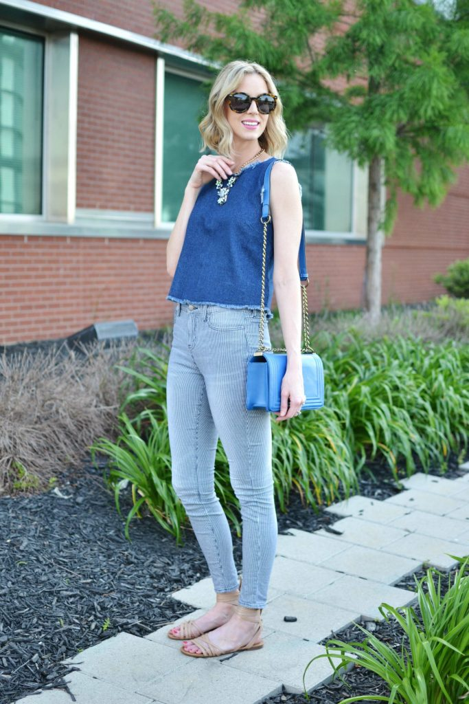 denim tank, striped jeans, sandals, blue bag, karen walker sunglasses 3