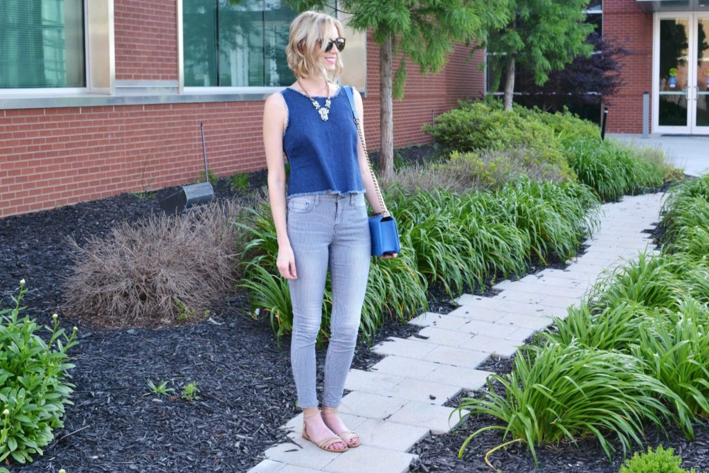 denim tank, striped jeans, sandals, blue bag, karen walker sunglasses 4
