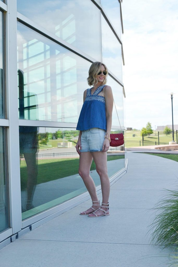 madewell denim shirt, boyfriend shorts, rebecca minkoff sandals, aviators, red bag