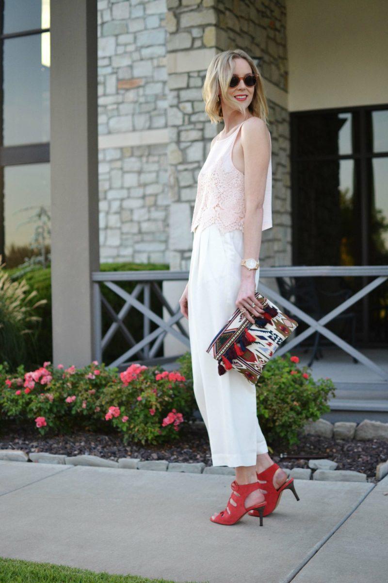 lookbook blush top, cream culottes, sole society clutch and heels, raen sunglasses