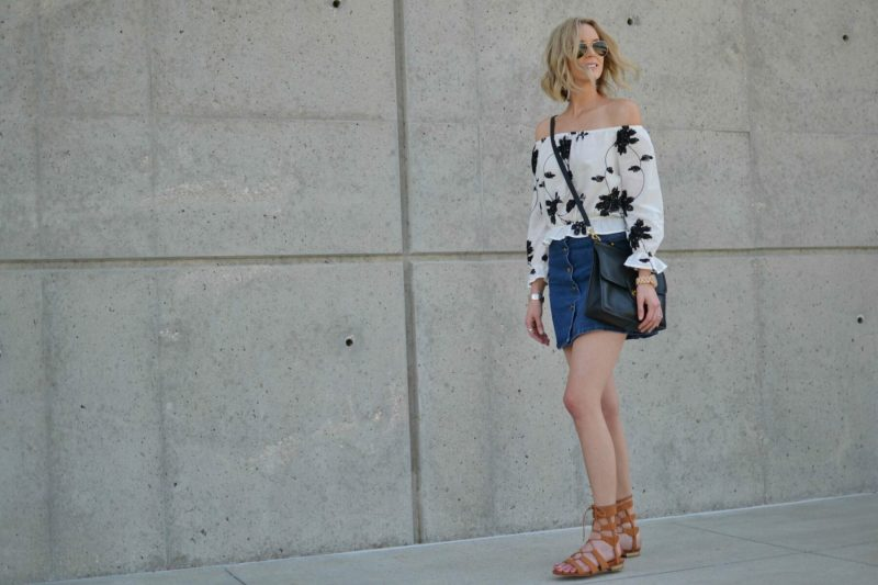 shein jean skirt, lookbook off the should top, choies gladiator sandals, Ray-Ban aviators