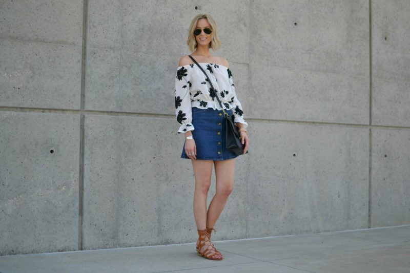 shein jean skirt, lookbook off the should top, choies gladiator sandals