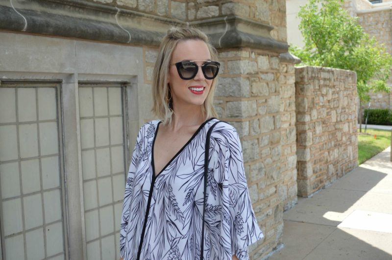 black and white dress, prada sunglasses