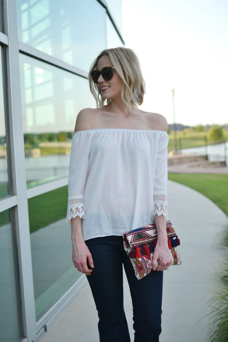 flare jeans, off the shoulder top, platforms, clutch, Karen Walker sunglasses