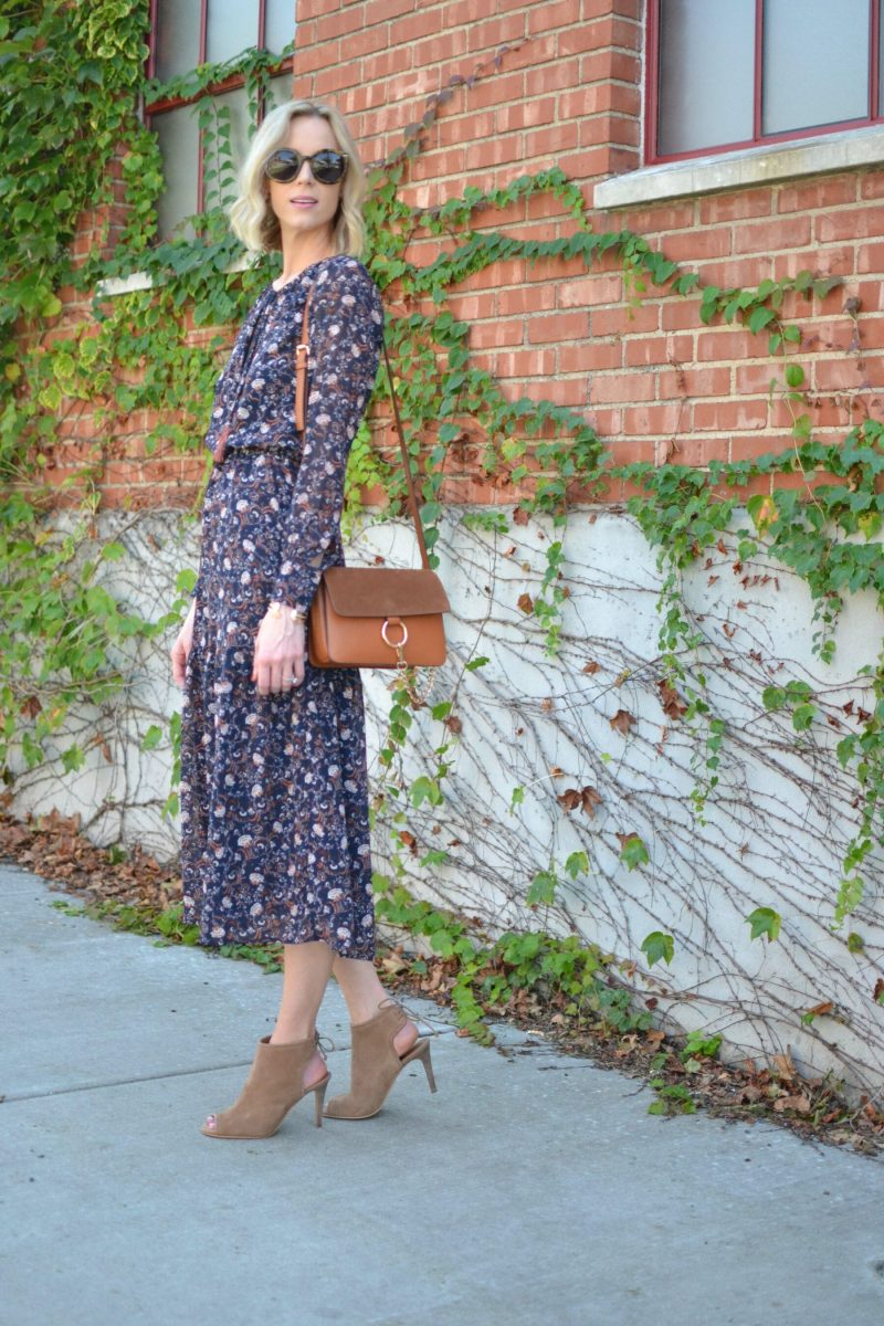 WAYF midi dress, Lucky tie heeled booties