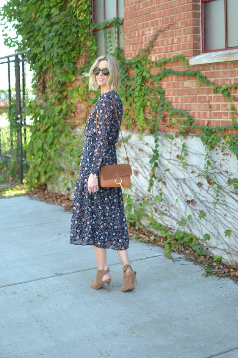 WAYF midi dress, chloe dupe bag, Lucky tie heeled booties