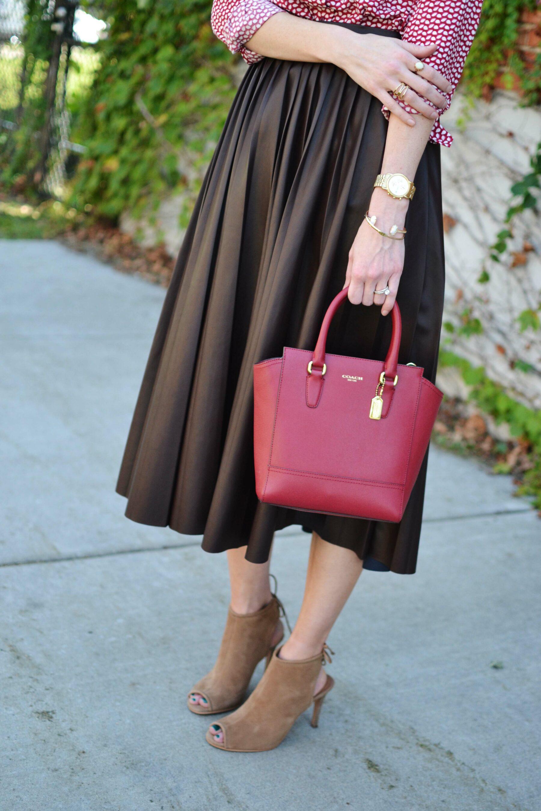 20b8caa81a Burgundy Leather Midi Skirt