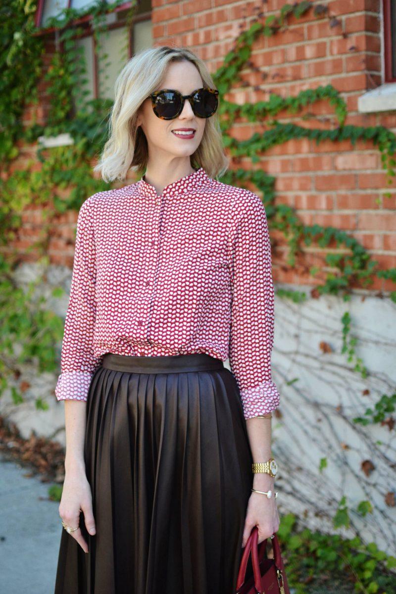 Burgundy Leather Pleated Midi Skirt