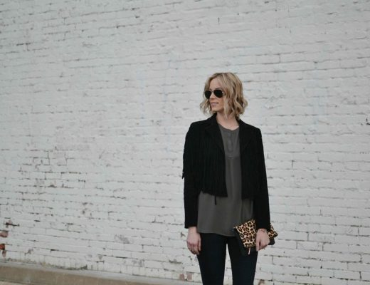 pleione blouse, fringe jacket, black jeans
